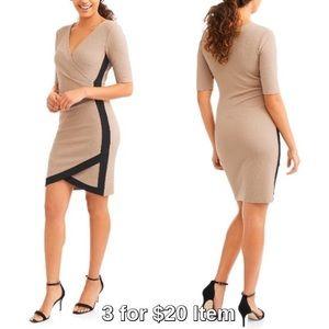Dresses & Skirts - Colorblock Wrap Front V-Neck Dress, Taupe